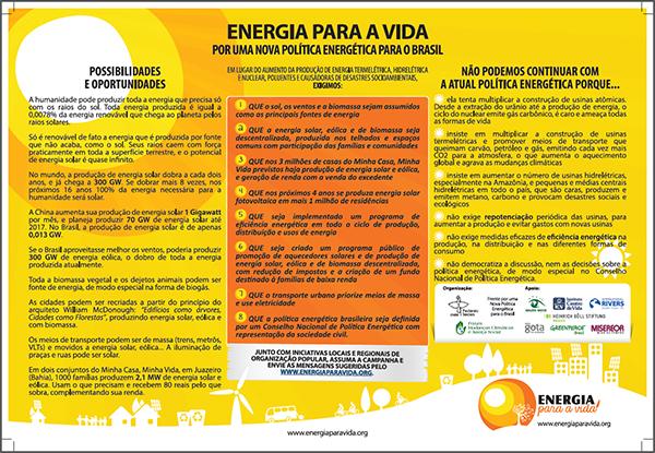 Cartaz da Campanha Por uma Nova Política Energética para o Brasil