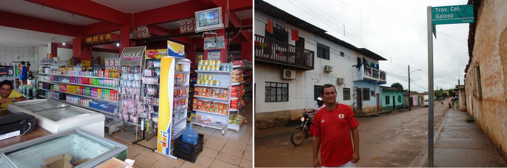 À esquerda o mercado de Aparecida. À direita, Melo em frente à sua pensão. Placa da rua confirma região central.